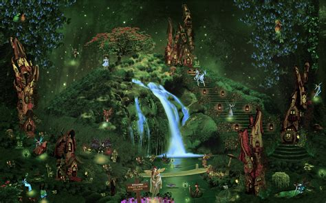 Alice In Wonderland Wall Murals fantasy castle city forest waterfall fairy elf magical