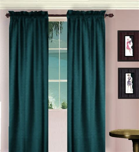 Teal Curtains Solid Teal Colored Window Curtain Available In