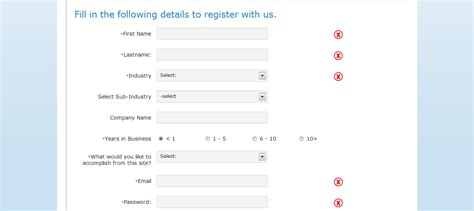 jquery registration form template application form registration form template with jquery