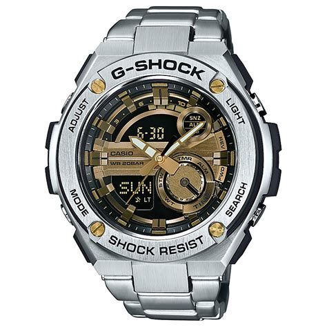 G Shock Casio Rantai Stainless Steel Gsts4 casio g shock s stainless steel black gold h samuel