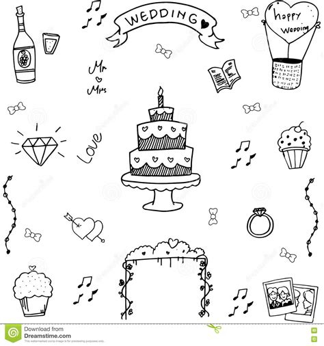 doodle draw free wedding in doodle draw stock vector illustration of