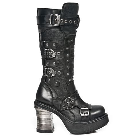 m 8353 s1 new rock knee high boots with eyelets and buckles