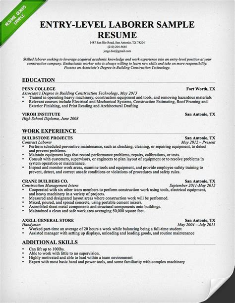 Entry Level Construction Worker Resume Sle entry level construction worker free downloadable resume
