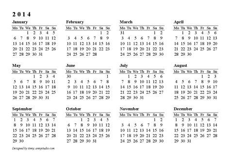 2014 one page calendar template 2014 calendar printable one page calendar printable 2017