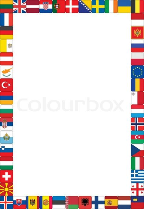 flags of the world page border frame made of european countries flags vector illustration
