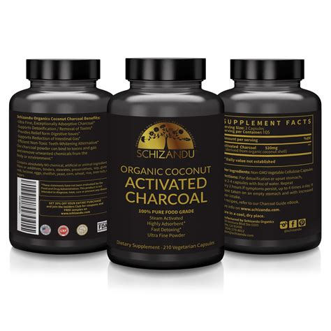 pure organic activated coconut charcoal capsules