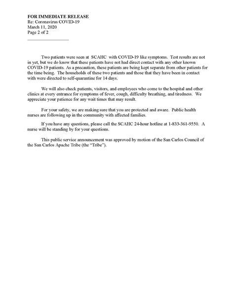 COVID-19 Staff Information - San Carlos Apache Healthcare