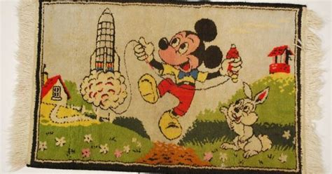 Disney Kitchen Rug Vintage 1950s Disney Rug Mickey Mouse With Rocket Atomic Abyss Pinterest