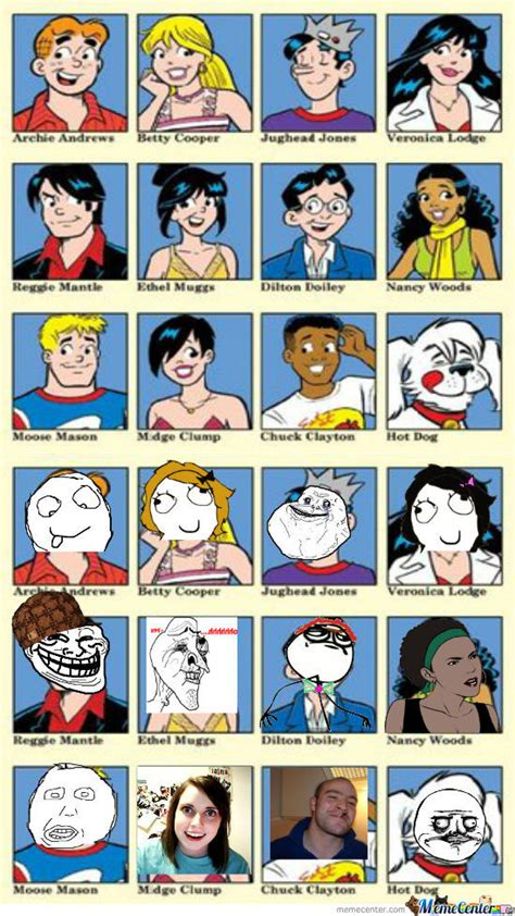 Meme Comic Characters - archie characters as memes by kevintheman112 meme center