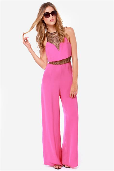 Lova Jumpsuit Pink by Pink Jumpsuit Lace Jumpsuit Wide Leg Jumpsuit