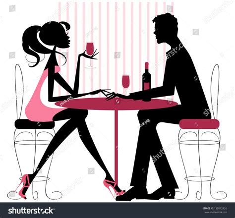 dinner silhouette couple sharing romantic dinner silhouette pinks stock