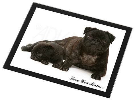 pug table pug and puppy you black glass placemat animal table gift id 99091