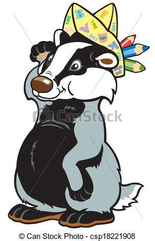 cartoon badger artist cartoon badger children illustrationpicture   kids
