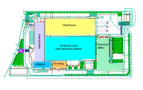 layout of building in cgmp new production site ecan pharma