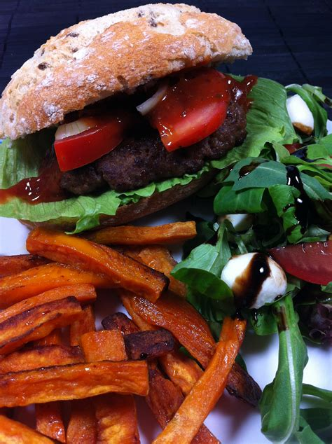 carbohydrates sweet potato the high carb salsa burger with sweet potato fries
