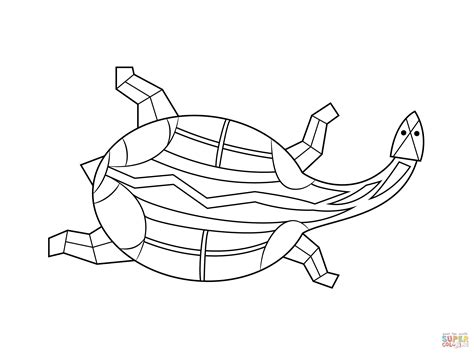 aboriginal painting of turtle coloring page free