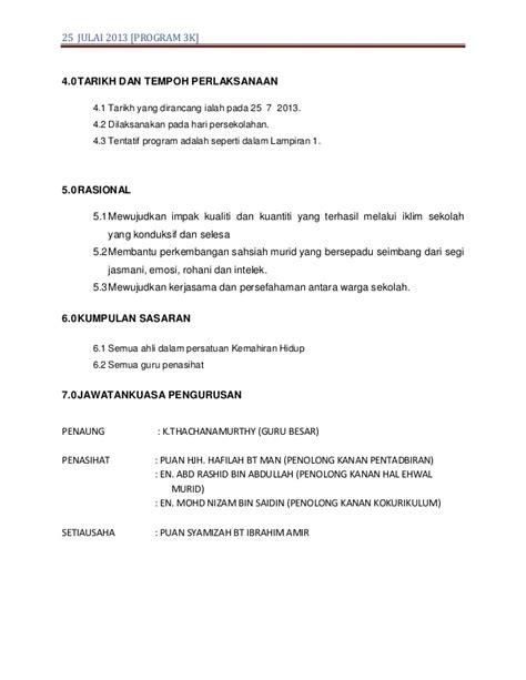 To 3k Program by Kertas Kerja Program 3k