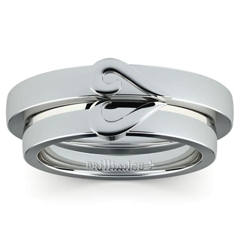 matching curled wedding ring set in white gold