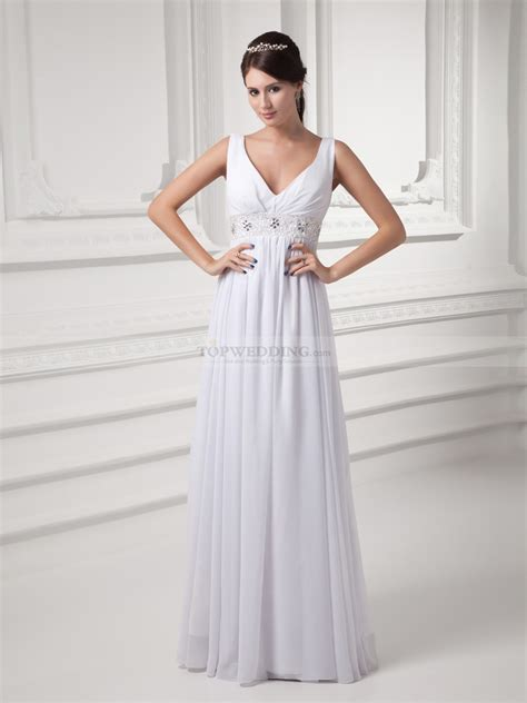 V Neck Chiffon Dress v neck chiffon empire wedding dress with embellished waist