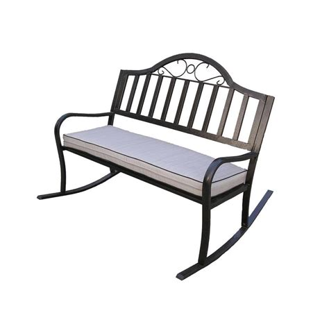home depot outdoor bench oakland living rochester rocking patio bench with cushion