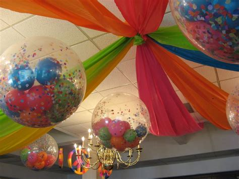 Easy Last Minute Decor Balloon Ceiling by Ceiling Decor And Balloons Filled With Confetti Dessert
