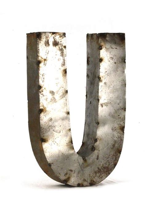 large metal letters industrial rustic metal small letter u 18 inch kathy kuo 1349