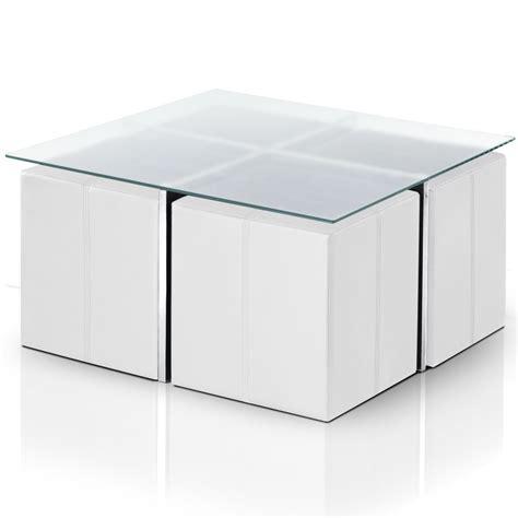 table basse en verre avec 4 poufs calvi lestendances fr
