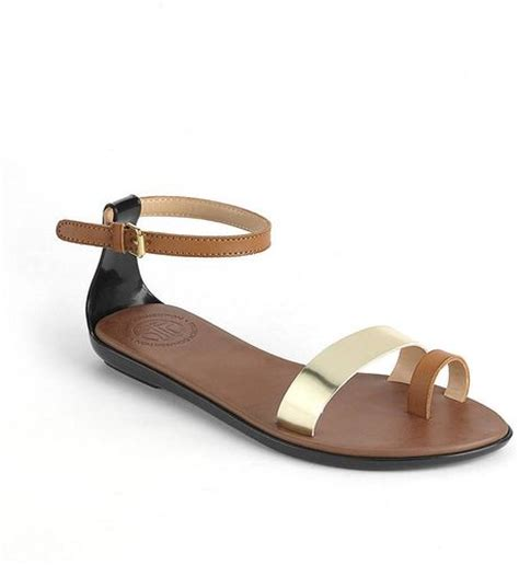 cognac flat sandals connection flat sandals in brown cognac lyst