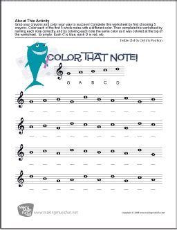 Treble Clef Note Name Worksheet by Color That Note Free Note Name Worksheet Treble Clef G