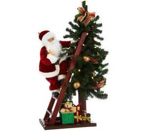 Lights battery operated santa lighting christmas tree qvc com