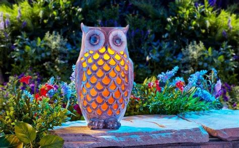 Solar Powered Garden Decor Solar Powered Led Ceramic Owl Outdoor Decor Light Yard Garden New Ebay