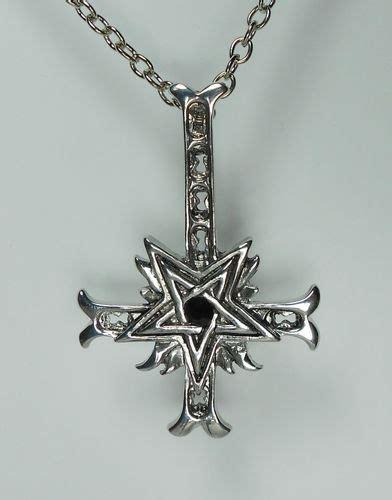 inverted cross necklace pendant pentagram black metal