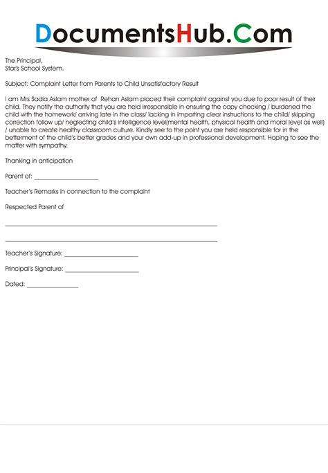 Complaint Letter Sle To School Principal Complaint Letter To School From Parents Documentshub