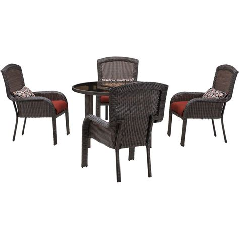 all weather wicker patio dining sets hanover strathmere 5 all weather wicker patio