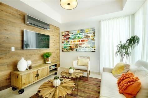 wohnzimmer holzmöbel 93 ideen zur wandgestaltung mit holz stein tapete und mehr