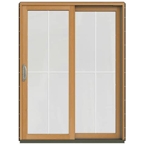 Wood Sliding Patio Door Jeld Wen 59 1 4 In X 79 1 2 In W 2500 Chocolate Prehung Right Clad Wood Sliding
