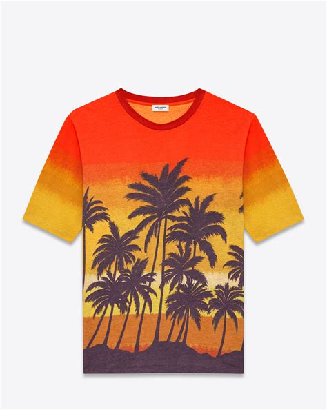 Tshirt Printing Small Palm laurent sleeve t shirt in orange yellow purple and brown palm tree printed cotton