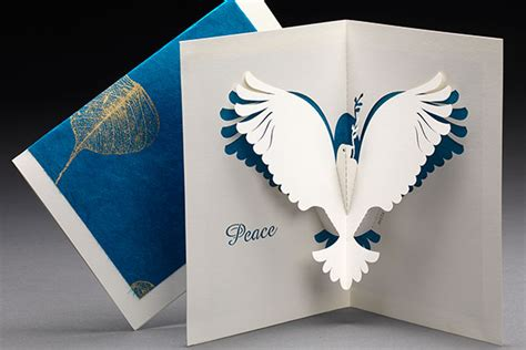 peace dove origami architecture pop up cards by live