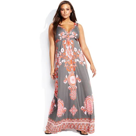 lyst inc international concepts plus size sleeveless printed maxi dress in pink