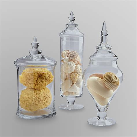 home decor jars essential home 3 piece glass apothecary jars shop your