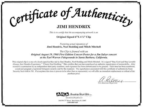 certificate of authenticity autograph template the jimi experience courtesy of american royal