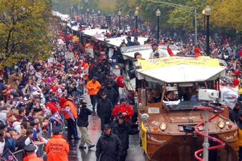 duck boats boston red sox parade duck boats parade in boston streets