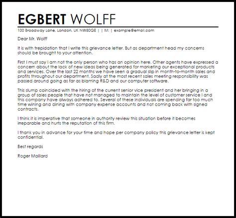 Grievance Letter   Letters   LiveCareer