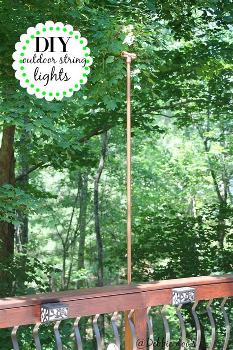 Diy Patio Lights How To Hang Outdoor String Lights The Deck Diaries Part Diy Projects Elizabeth Burns Design