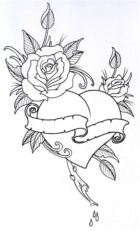 free tattoo outline designs roseheart outline 1 by vikingtattoo on deviantart