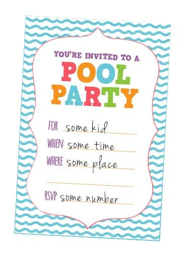 9 best images of kids pool party free printables free
