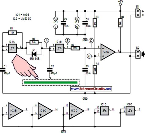how to make a capacitive sensor simple capacitive touch sensor circuit diagram world