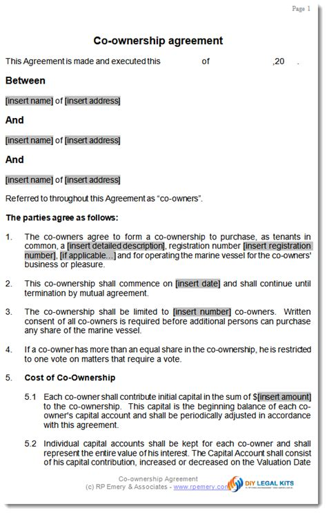 co ownership agreement template for aircraft or boat