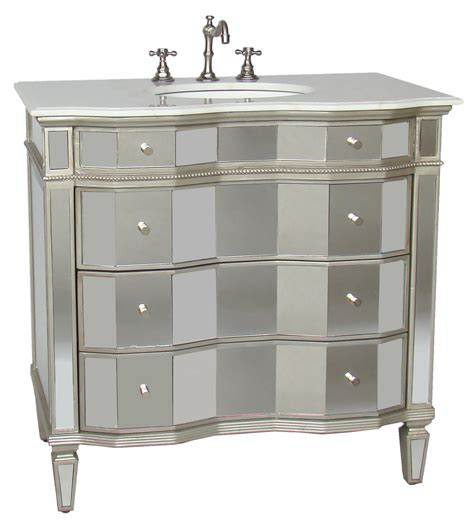 36 Inch Jamie Vanity Mirrored Sink Chest Mirrored Sink Mirrored Bathroom Vanity Cabinet