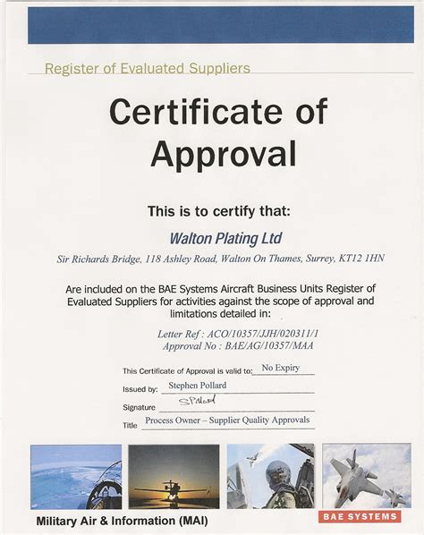 approval letter for certification aerospace surface treatment aerospace chemical
